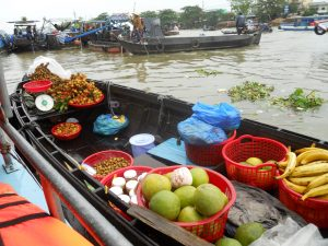 Fresh fruit at a floating market on the Mekong